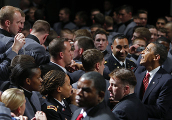 U.S. President Barack Obama greets cadets at the U.S. Military Academy in West Point, New York