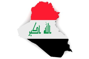 Map of Iraq in the national colors of the flag
