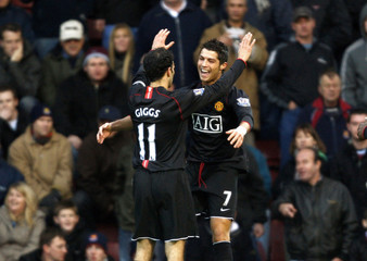 Manchester United's Ronaldo celebrates goal against West Ham United during their English Premier League match in London