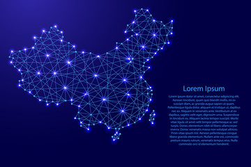 Map of China from polygonal blue lines and glowing stars vector illustration