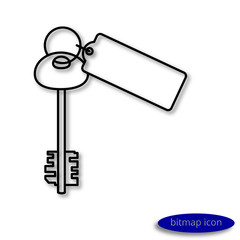 Simple  linear image of a large key from an apartment with a key fob, a flat line icon for a web site