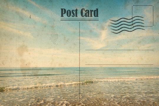 Vintage summer postcard. Ocean and sunny beach
