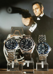 Three Omega watches are pictures during a preview at Antiquorum auction house in Geneva