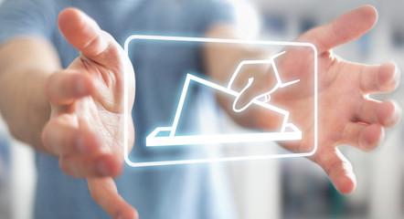 Businessman voting using digital interface 3D rendering