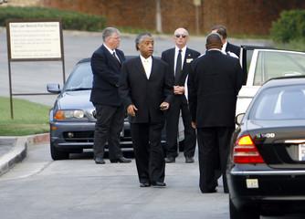 Reverend Al Sharpton arrives at Forest Lawn Memorial Park in Glendale