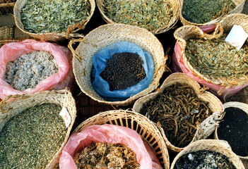 Different kinds of Arabian herbs that are used to cure various diseases are displayed at the spice m..
