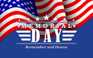 Memorial Day background with stars, USA flag and lettering. Template for Memorial Day. Vector illustration.