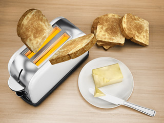 Butter and knife beside toaster and grilled bread. 3D illustration