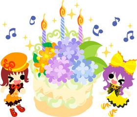 Cute girls and a birthday cake of hydrangeas