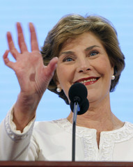 U.S. first lady Laura Bush waves to delegates as she arrives to speak at the 2008 Republican National Convention in St. Paul