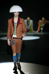 Model presents creation from Luxoir Fall/Winter 2006/2007 collection at Pasarela Barcelona fashion show in Barcelona
