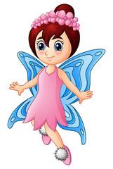 Cartoon little girl fairy butterfly