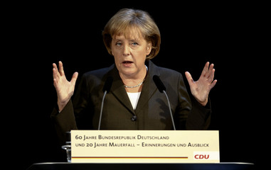 German Chancellor Merkel and chairwoman of the conservative CDU party gives a key note speech during a ceremony in Berlin