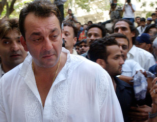 Bollywood star Sanjay Dutt attends the funeral of his father, former Bollywood icon Sunil Dutt, in Bombay.