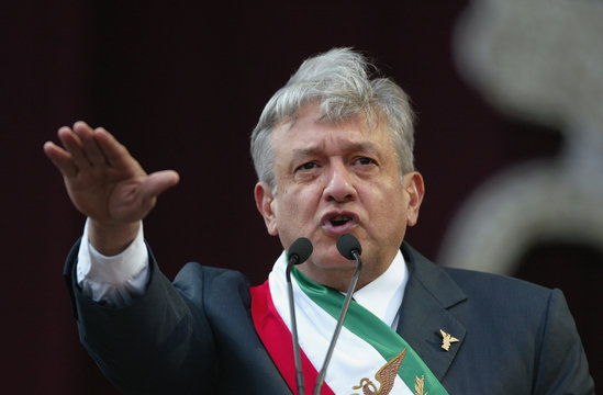 "Andres Manuel Lopez Obrador  is sworn in as ""legitimate president""  at Mexico City's Zocalo square"