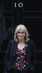 British actress and Gurkha activist Joanna Lumley arrives for a meeting with Prime Minister Gordon Brown at 10 Downing Street in central London