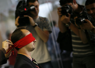 """Bulgaria's Topalov takes part in a """"blind"""" chess competition in Sofia"""