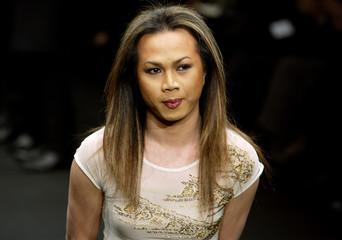 INDONESIAN DESIGNER FARAH ANGSANA AT HER AUTUMN/WINTER 2003/04 FASHIONSHOW IN PARIS.