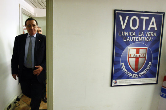 Secretary of Democrazia Cristiana party Giuseppe Pizza arrives in his office in downtown Rome