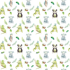 Baby animals nursery isolated seamless pattern. Watercolor boho tropical drawing, child tropical drawing, panda, cute crocodile, tropic elephant, green iguana and turtle.