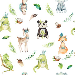 Baby animals nursery isolated seamless pattern. Watercolor boho tropical drawing, child tropical drawing, panda, cute crocodile, tropic elephant, green iguana , fox, deer and turtle