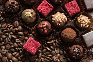 Appetizing truffles and coffee beans