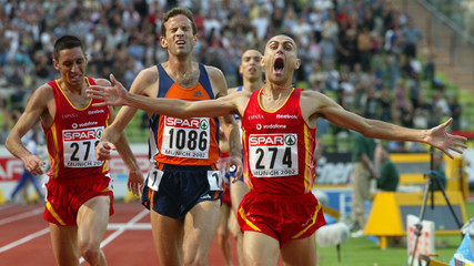 JIMENEZ OF SPAIN JUBILATES AFTER WINNING MENS 3000 M STEEPLE ATEUROPEAN ATHLETICS CHAMPIONSHIPS.