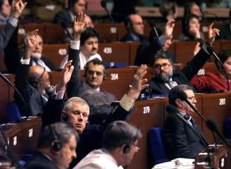 EUROPEAN DEPUTIES VOTE DURING DEBATE ON RUSSIA.