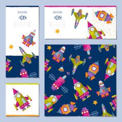 Set of universal cards with space toy rockets. Birthday, anniversary, children's party, congratulations. Template.