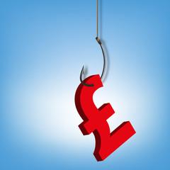 monnaie - Livre Sterling - économie - devise - hameçon