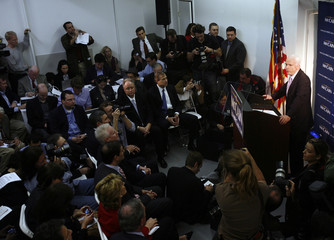 US Republican presidential candidate Sen. McCain speaks to the media during a campaign stop in the Brooklyn borough in New York