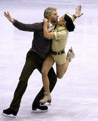 Delobel and Schoenfelder of France perform during the Senior Ice Dance program at the ISU Grand Prix of Figure Skating Final in Goyang