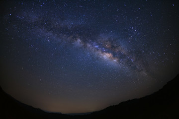 Landscape milky way galaxy over moutain with stars, Long exposure photograph, with grain.