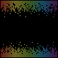 Pixel background texture in rainbow colors with copy space. Vector light bitmap pattern backdrop and message space.