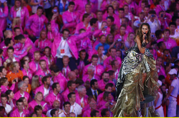 Singer Lewis performs during the closing ceremony of the Beijing 2008 Olympic Games at the National Stadium