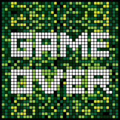 Video game pixel background texture in green. Vector light bitmap pattern backdrop game over message.
