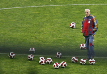 Spain's national soccer coach Aragones attends a closed door soccer training session in Oviedo