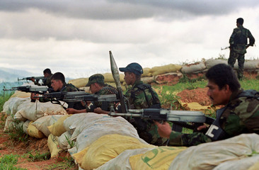 MEMBERS OF PARAMILITARY GROUP DURING TRAINING IN NORTHEN COLOMBIA.