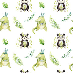 Baby animals nursery isolated seamless pattern. Watercolor boho tropical drawing, child tropical drawing cute crocodile and panda, tropic green