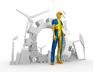 Young man wearing apron textured by Sweden flag. Bearded worker at industrial isometric icons set. 3D rendering. Metallic material. Energy generation and heavy industry.