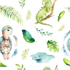 Baby animals nursery isolated seamless pattern. Watercolor boho tropical fabric drawing, child tropical drawing cute iguana, turtle and palm tree, alligator tropic green texture