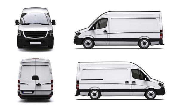 Vier Ansichten eines weißen Transporters
