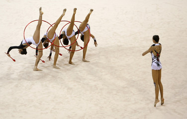 Spain perform during the group all-around qualification of the rhythmic gymnastics competition at the Beijing 2008 Olympic Games