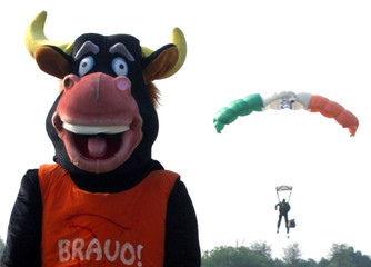 Bravo a mascot stands as Indian army paratrooper performs in Chandigarh
