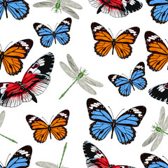 Butterflies and dragonflies seamless pattern, vector background. Bright multicolored insects on a white backdrop. For fabric design, wallpapers, wrappers, print, decorating