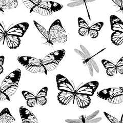 Butterflies and dragonflies seamless pattern, monochrome vector background, coloring book. Black and white various insects on a white backdrop. For fabric design, wallpapers, wrappers