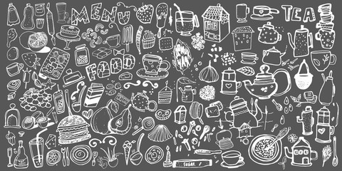 Hand drawn food elements. Set for menu decoration.