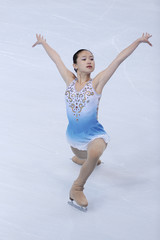 U.S. skater Caroline Zhang performs during the women's short  programme at the Bompard Trophy event at Bercy in Paris