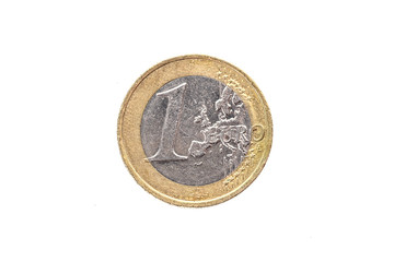 Old used and worn out 1 euro coin.