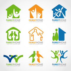 Family home logo with abstract human and home concept vector set design